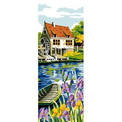 La barque et le moulin à eau canevas chez Luc Création
