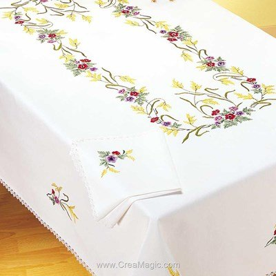 Serviette de table imprimée anémones colorés en broderie traditionnelle de Margot Broderie