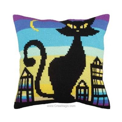 Kit coussin Collection d'art au point de croix silhouette de chat design