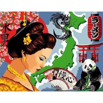 Canevas femme d'asie et panda - Luc Création