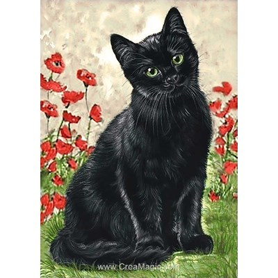 Broderie diamant black kitty - Wizardi