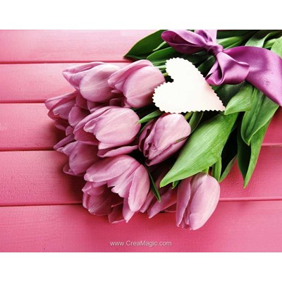 Broderie diamant Wizardi tulips and love