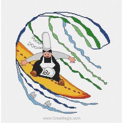 Kit broderie de Marie Coeur au point de croix le surf breton - mam'goudig