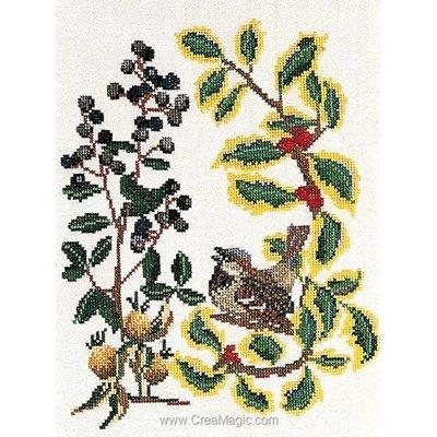 Broderie point de croix sparrow sur lin de Thea Gouverneur