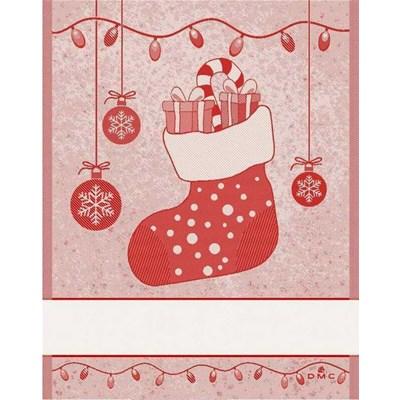 Torchon à broder cadeaux noel - rouge - DMC