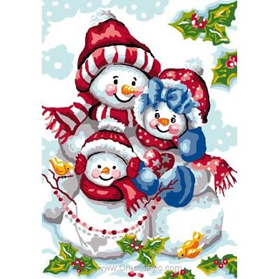 Luc Création canevas fammille de bonhomme de neige à noël