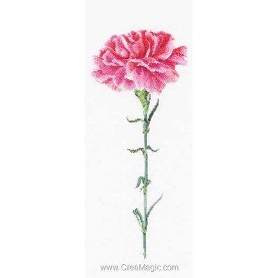 Carnation pink sur lin kit broderie point de croix - Thea Gouverneur