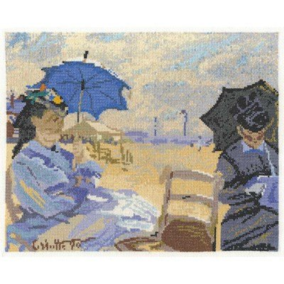 Kit DMC à broder au point de croix la plage de trouville de monet - national gallery