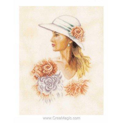 Broderie au point de croix point compté femme au chapeau de Lanarte