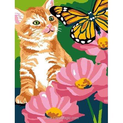 Kit canevas enfants chaton pappilon et fleur - Luc Création