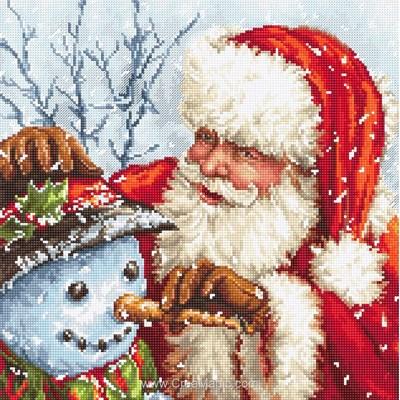 Kit à broder au point de croix le père noël et le bonhomme de neige - LETISTITCH