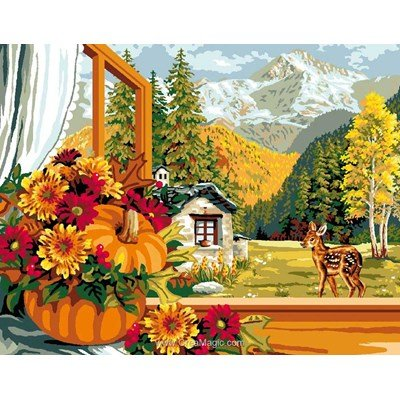 Mimo Verde canevas l'automne à la fenêtre