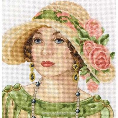 Point de croix compté portrait la dame au chapeau d'époque de Maia