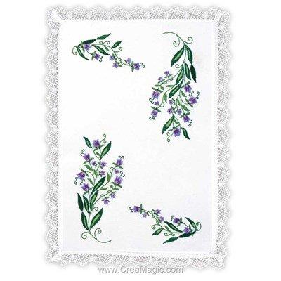 Napperon violettine à broder en broderie traditionnelle imprimée - Margot Broderie MRO-NPR9084