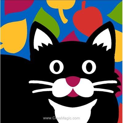 Canevas enfant en kit chat noir joyeux - Margot