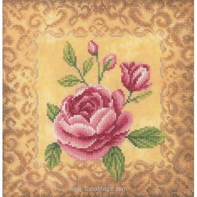 Roses et arabesque dorée tableau broderie point de croix - Lanarte