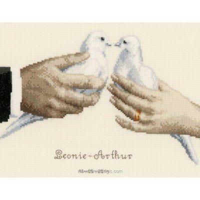 Tableau de mariage les colombes tableau point de croix - Vervaco