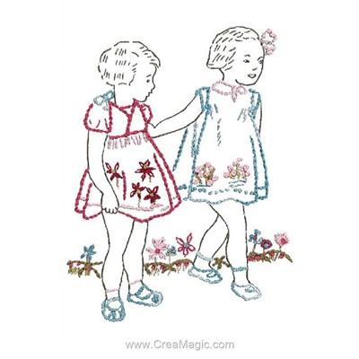 Kit de broderie traditionnelle Au Fil De L'Ange deux petites filles au jardin