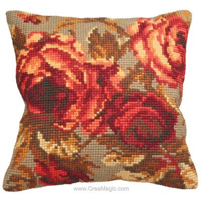 Coussin rose chou de Collection d'art au point de croix