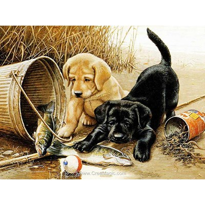 Broderie diamant puppies fishing de Diamond Painting