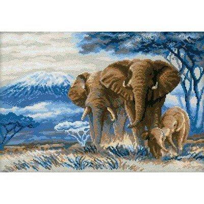 Les éléphants dans la savane kit au point de croix compté - RIOLIS