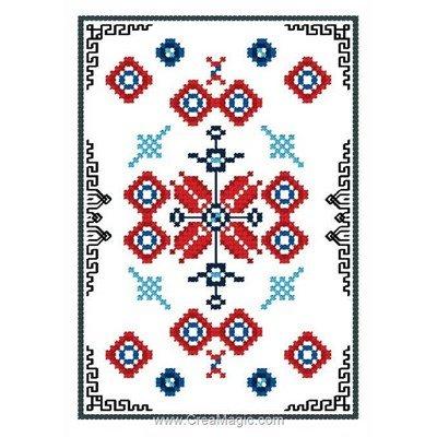 Déco rouge et bleu mini point de croix en kit - Luc Création