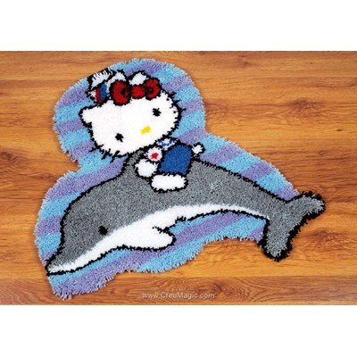 Kit tapis point noue hello kitty sur son dauphin - Vervaco