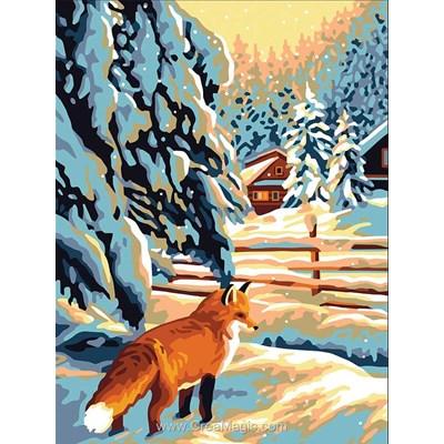 Canevas renard près de la barrière - Collection d'art