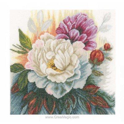 Kit broderie de Lanarte au point de croix a coeur de roses