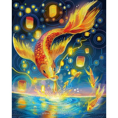 Broderie diamant fire carp de Diamond Painting