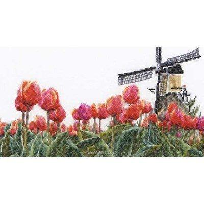 Broderie au point de croix Thea Gouverneur moulin de tulipes sur lin