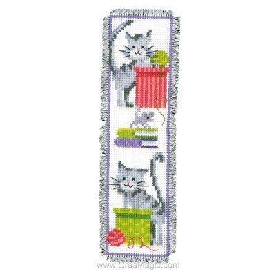 Marque page vervaco chat et pelote de laine broder - Modele marque page ...