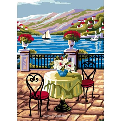 Canevas table en terrasse à la mer - Luc Création