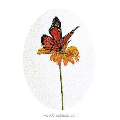 Butterfly orange sur lin broderie au point de croix point compté - Thea Gouverneur