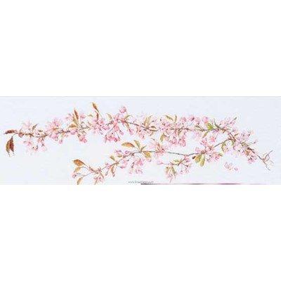Japanese blossom sur lin point de croix compté - Thea Gouverneur