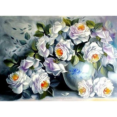 Broderie diamant Diamond Painting white roses