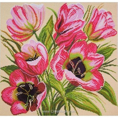 Kit broderie imprimée aida Collection d'art tulipes roses