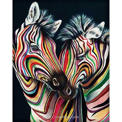 Kit broderie diamant Diamond Painting colourful zebras