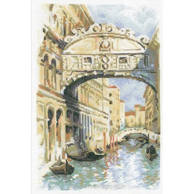 Venise - le pont des soupirs broderie au point compté - RIOLIS