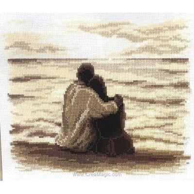 Point de croix de Vervaco à broder le regard sur la mer