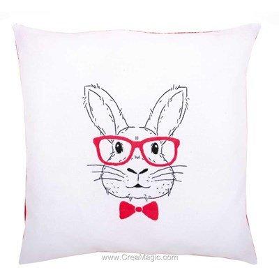 Kit coussin lapin avec des lunettes en broderie traditionnelle imprimée - Vervaco PN-0155964