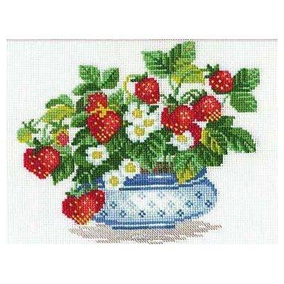 Modèle point de croix vase de fraises de RIOLIS