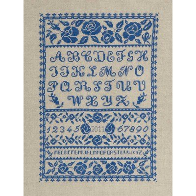 Broderie point compté abécédaire aux fleurs bleues de DMC