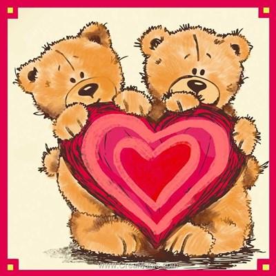 Broderie diamant teddy bears with a heart de Diamond Painting