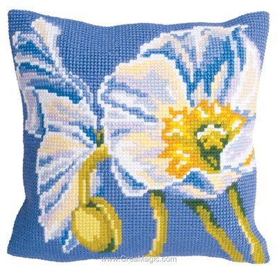 Coussin Collection d'art pavot neige au point de croix