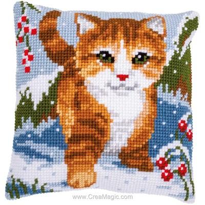 Kit coussin Vervaco au point de croix jeux de chat dans la neige