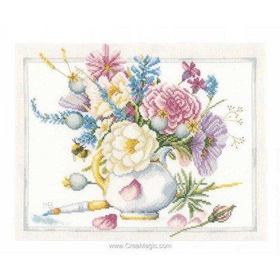 Kit Lanarte vase blanc fleuri