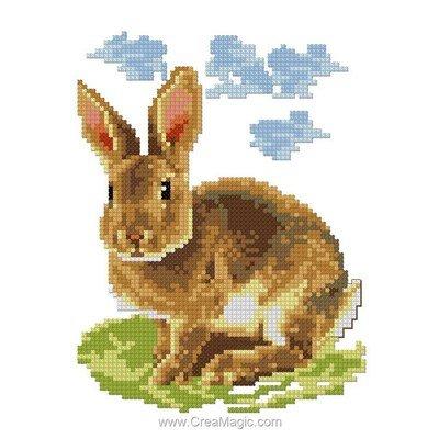 Mini kit au point de croix lapin dans les nuages de Luc Création