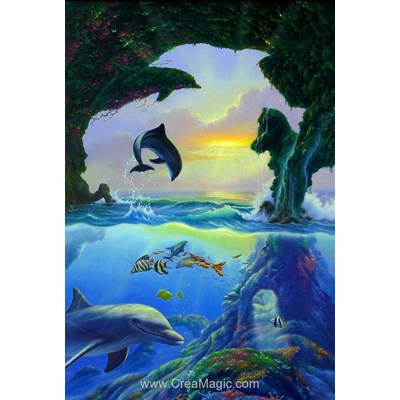 Kit broderie diamant Diamond Painting dolphins