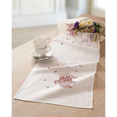 Kit chemin de table mon panier fleuri blanche en broderie traditionnelle - Duftin 14639-AZ0085